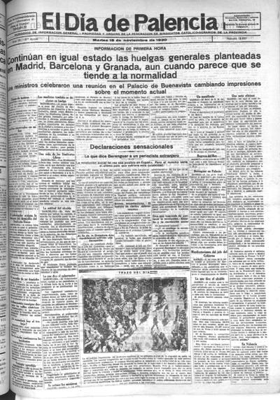 Image from object titled El Día de Palencia : defensor de los intereses de Castilla: Año XL Epoca 2ª Número 12837 - 1930 noviembre 18