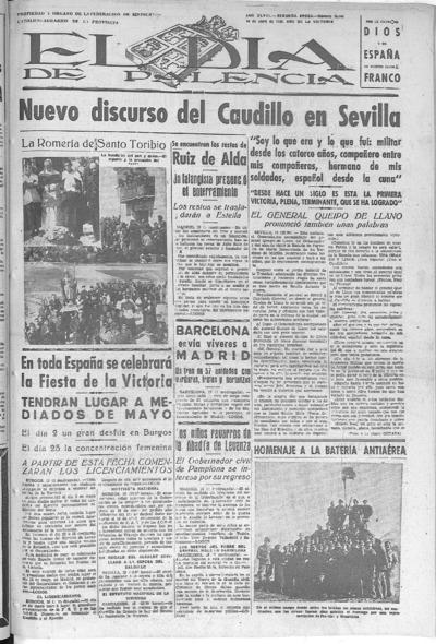 Image from object titled El Día de Palencia : defensor de los intereses de Castilla: Año IIL Epoca SEGUNDA Número 15148 - 1939 abril 19