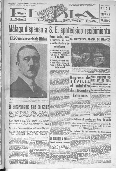 Image from object titled El Día de Palencia : defensor de los intereses de Castilla: Año IIL Epoca SEGUNDA Número 15149 - 1939 abril 20