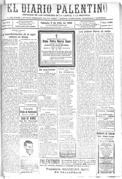Image from object titled El Diario Palentino : defensor de los intereses de la capital y la provincia. El más antigüo y de mayor circulación: Año XLIV Número 12820 - 1926 julio 3