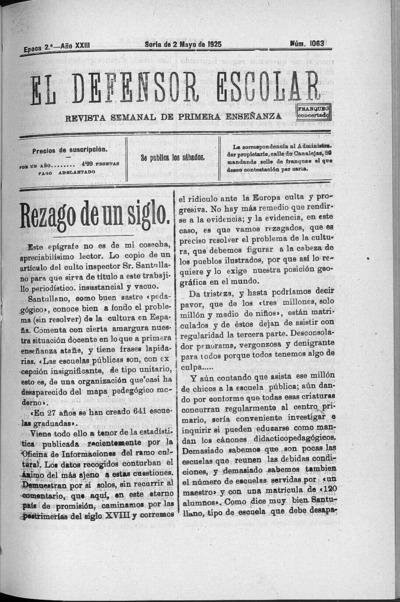 Image from object titled El defensor escolar : revista semanal de primera enseñanza: Epoca 2ª Año XXIII Número 1063 - 1925 mayo 2