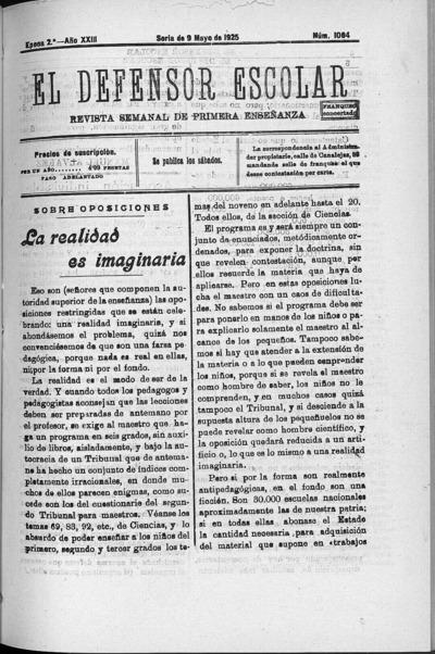 Image from object titled El defensor escolar : revista semanal de primera enseñanza: Epoca 2ª Año XXIII Número 1064 - 1925 mayo 9