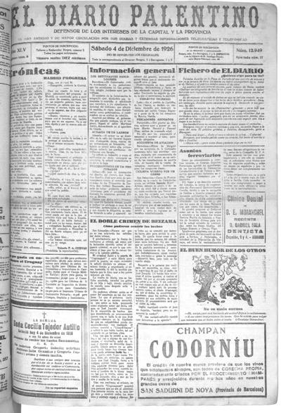Image from object titled El Diario Palentino : defensor de los intereses de la capital y la provincia. El más antigüo y de mayor circulación: Año XLV Número 12949 - 1926 diciembre 4