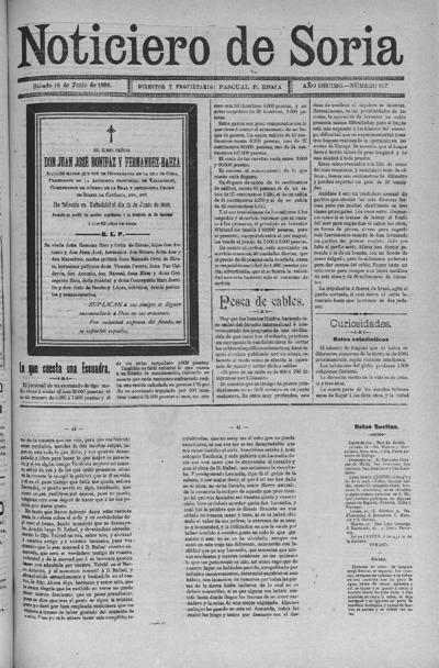 Image from object titled El Noticiero de Soria: Año DÉCIMO Número 817 - 1898 junio 18