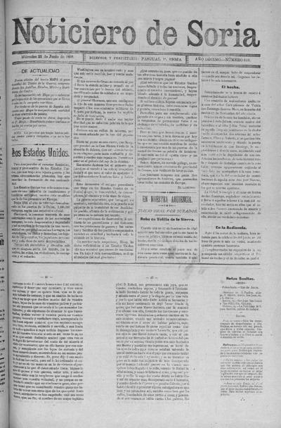 Image from object titled El Noticiero de Soria: Año DÉCIMO Número 818 - 1898 junio 22
