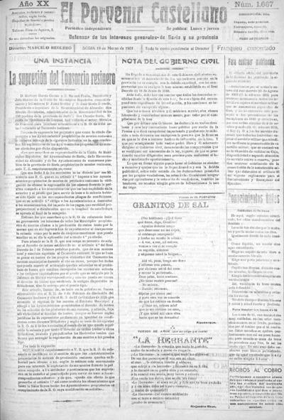 Image from object titled El Porvenir Castellano : Periódico independiente: Año XX Número 1667 - 1931 marzo 19