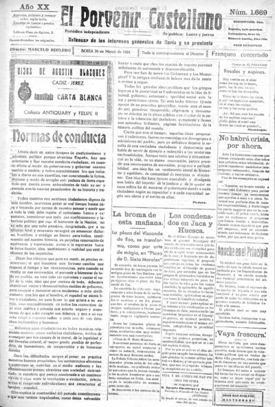 Image from object titled El Porvenir Castellano : Periódico independiente: Año XX Número 1669 - 1931 marzo 26
