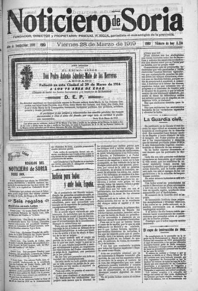 Image from object titled El Noticiero de Soria: Año XXXI Número 3236 - 1919 marzo 28