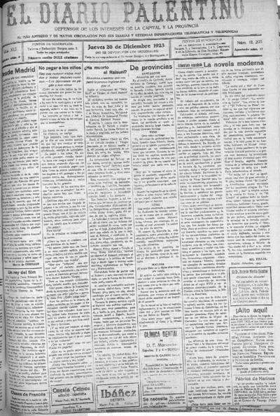 Image from object titled El Diario Palentino : defensor de los intereses de la capital y la provincia. El más antigüo y de mayor circulación: Año XLI Número 12205 - 1923 diciembre 20
