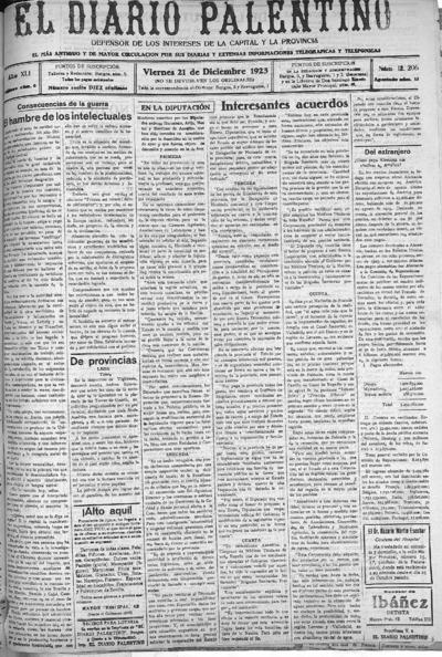 Image from object titled El Diario Palentino : defensor de los intereses de la capital y la provincia. El más antigüo y de mayor circulación: Año XLI Número 12206 - 1923 diciembre 21