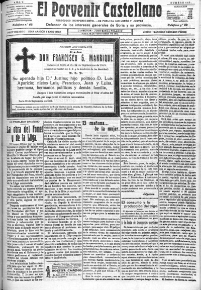 Image from object titled El Porvenir Castellano : Periódico independiente: Año V Número 440 - 1916 septiembre 28