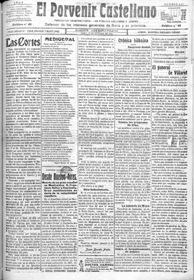 Image from object titled El Porvenir Castellano : Periódico independiente: Año V Número 441 - 1916 octubre 2