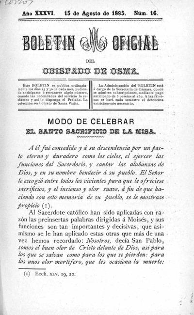 Image from object titled Boletín Eclesiástico del Obispado de Osma: Año XXXVI Número 16 - 1895 agosto 15