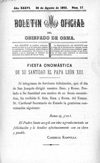 Image from object titled Boletín Eclesiástico del Obispado de Osma: Año XXXVI Número 17 - 1895 agosto 30