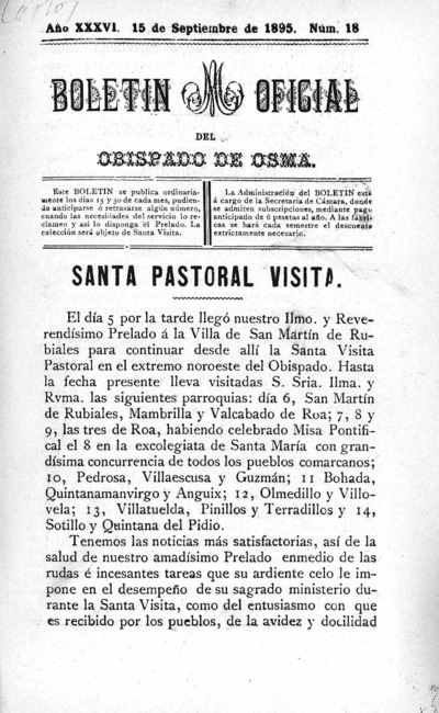 Image from object titled Boletín Eclesiástico del Obispado de Osma: Año XXXVI Número 18 - 1895 septiembre 15