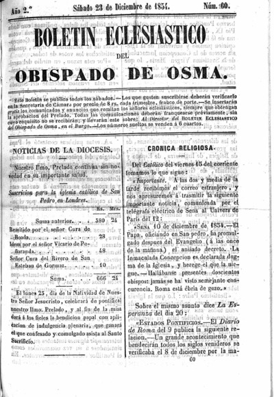 Image from object titled Boletín Eclesiástico del Obispado de Osma: Año 2º Número 60 - 1854 diciembre 23