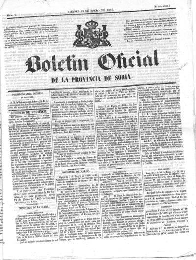 Image from object titled Boletín Oficial de la provincia de Soria: Número 6 - 1860 enero 13