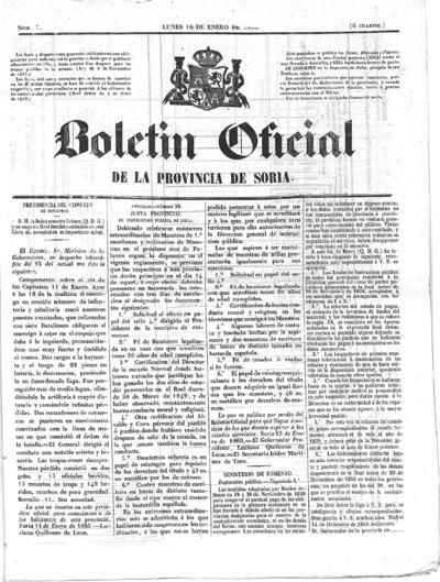 Image from object titled Boletín Oficial de la provincia de Soria: Número 7 - 1860 enero 16
