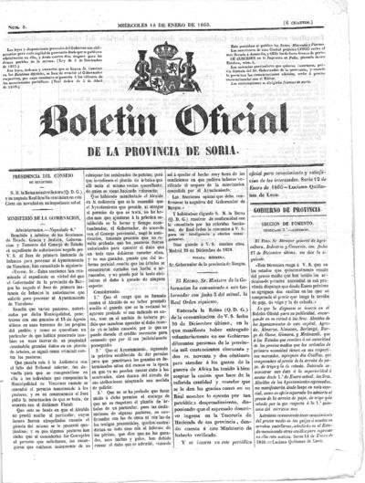 Image from object titled Boletín Oficial de la provincia de Soria: Número 8 - 1860 enero 18