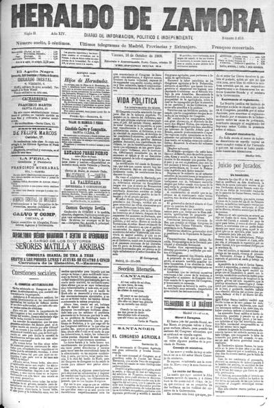 Image from object titled Heraldo de Zamora : Diario de la tarde. Defensor de los intereses morales y materiales de la provincia: Año XIV Siglo II Número 3453 - 1908 octubre 16