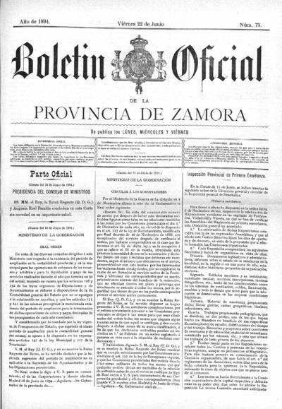 Image from object titled Boletín Oficial de Zamora: Número 75 - 1894 junio 22