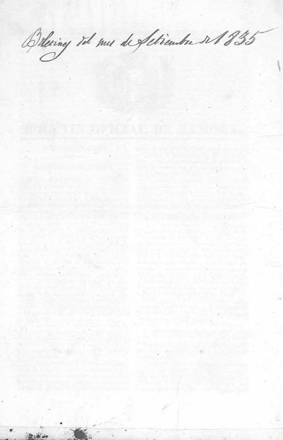 Image from object titled Boletín Oficial de Zamora: Número 70 - 1835 septiembre 1