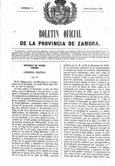 Image from object titled Boletín Oficial de Zamora: Número 2 - 1847 enero 4