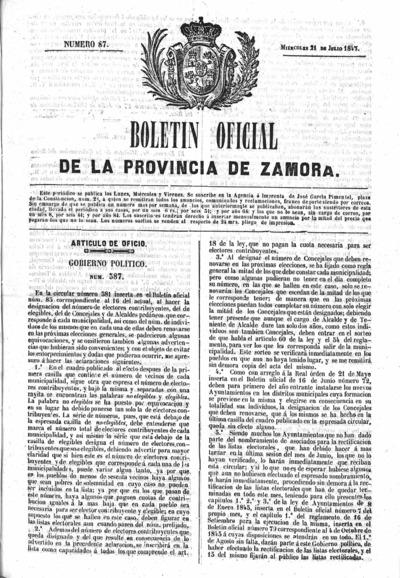 Image from object titled Boletín Oficial de Zamora: Número 87 - 1847 julio 21
