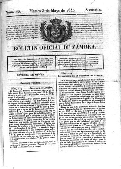 Image from object titled Boletín Oficial de Zamora: Número 36 - 1842 mayo 3