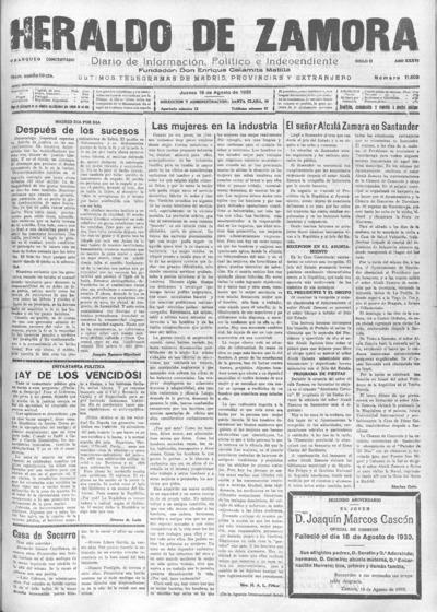Image from object titled Heraldo de Zamora : Diario de la tarde. Defensor de los intereses morales y materiales de la provincia: Año XXXVI Siglo II Número 11608 - 1932 agosto 18