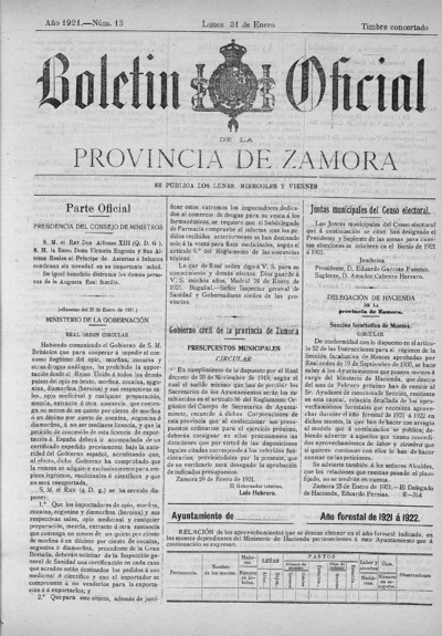 Image from object titled Boletín Oficial de Zamora: Número 13 - 1921 enero 31
