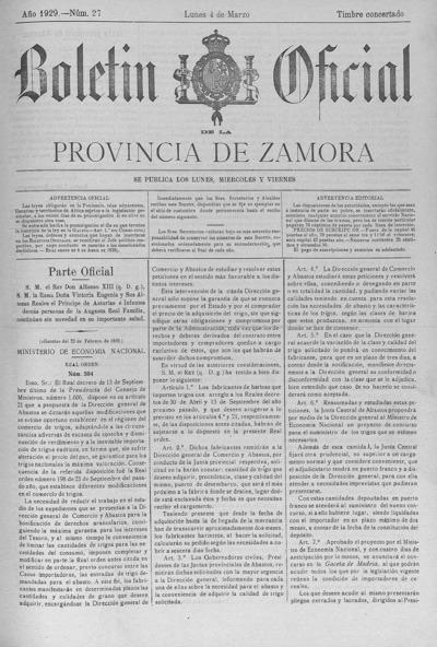 Image from object titled Boletín Oficial de Zamora: Número 27 - 1929 marzo 4