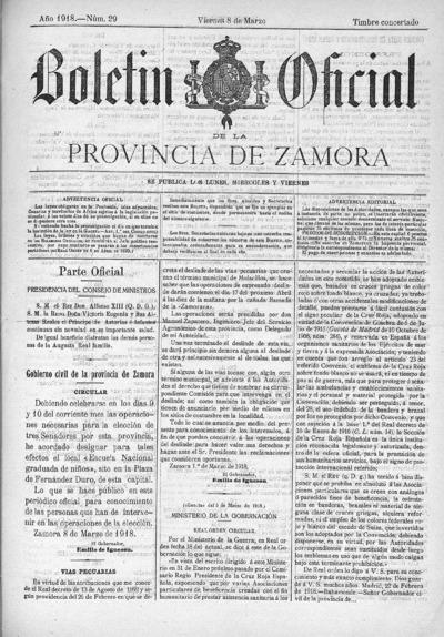 Image from object titled Boletín Oficial de Zamora: Número 29 - 1918 marzo 8