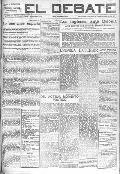 Image from object titled El Debate: Año VIII Número 2879 - 1918 diciembre 7