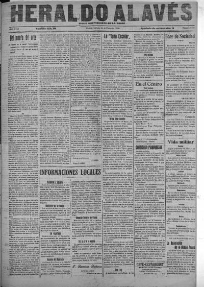 Image from object titled Heraldo Alavés : Diario independiente de la tarde: Año XVIII Número 7109 - 1918 enero 26