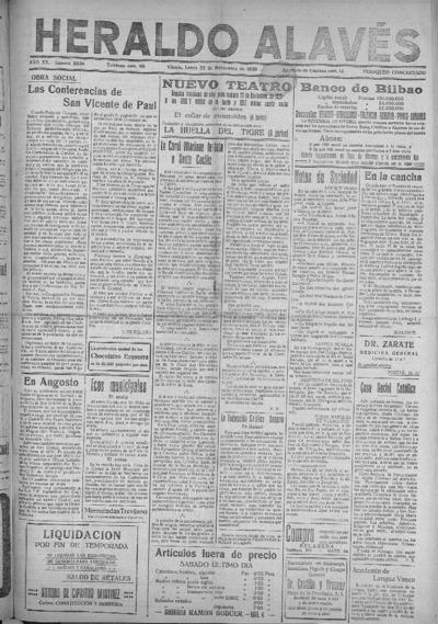 Image from object titled Heraldo Alavés : Diario independiente de la tarde: Año XX Número 8020 - 1920 noviembre 22