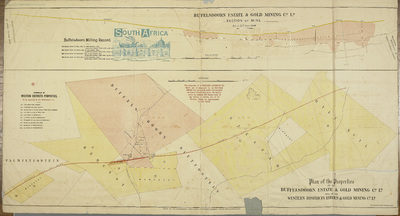 Image from object titled Plan of the properties of the Buffelsdoorn Estate & Gold Mining Cº L d and of the Western Districts Estates & Gold Mining Cº L d