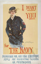 I want you for the navy promotion for any one enlisting : apply any recruiting station or postmaster