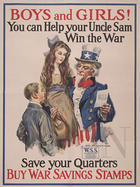 Boys and girls! you can help your Uncle Sam win the war save your quarters, buy War Savings Stamps