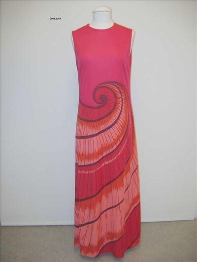 Mouwloze lange jurk in fuchsia tricot