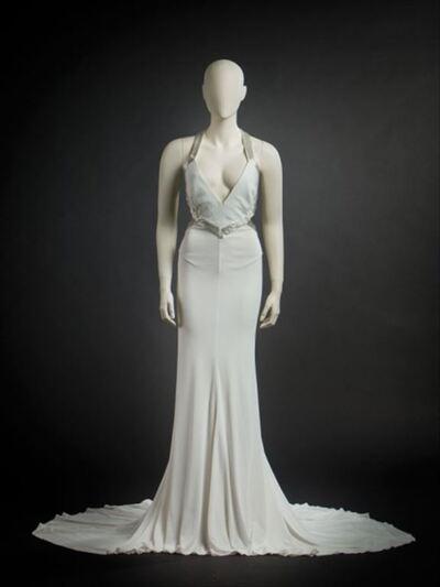 Lange witte jurk met met pailettenversiering