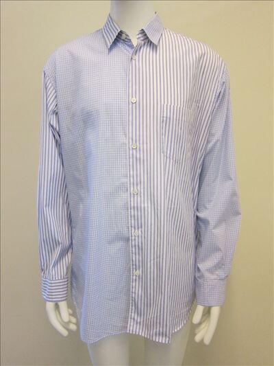 Hemd in witte katoen met blauwe patroon