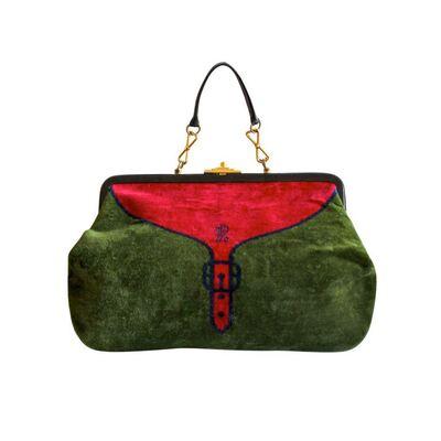 Rechthoekige handtas in groen-rood fluweel met trompe l'oeil print