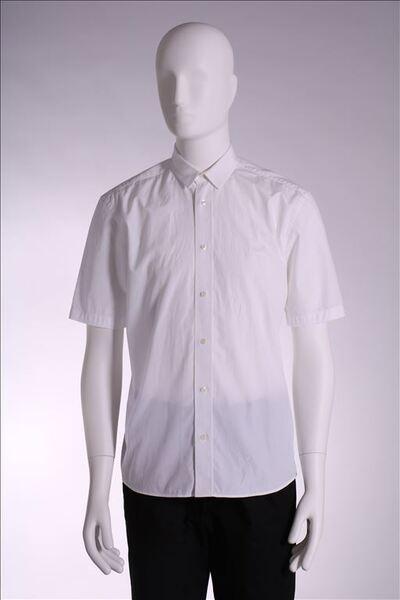 Hemd in wit katoen met korte mouwen