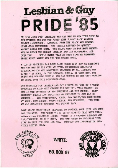 Image from object titled 1985 Cork Lesbian & Gay Pride Leaflet
