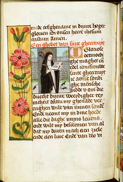 Image from object titled St. Gertrude of Nivelles holding a book and a pastoral staff, with mice at her feet