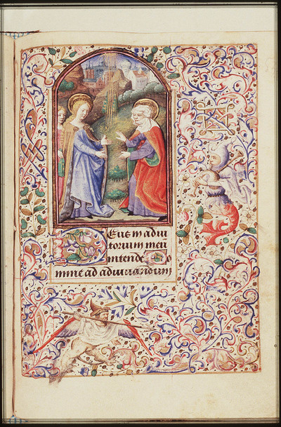 The Visitation: Mary, accompanied by a maid carrying a book, meets St. Elisabeth