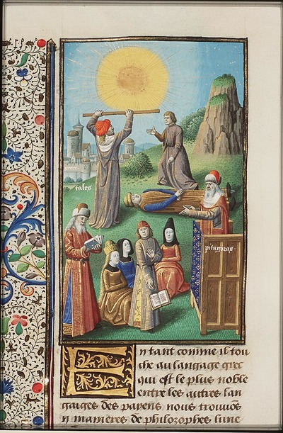 Image from object titled Pythagoras reading and teaching; Thales, measuring the sun, calculated with accuracy the solar eclipse
