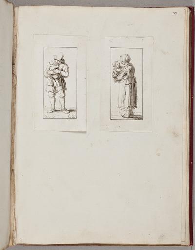 Twee gravures: vader met kindje; moeder met kindje / door C[hristina] C[halon] (1749-1808)