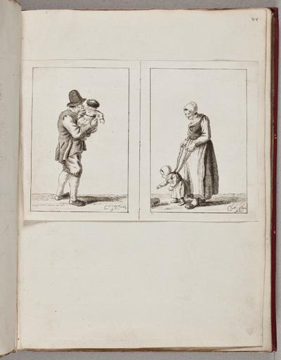 Twee gravures: vader met kindje; moeder met kindje / door Chr[istina] Chalo[n] (1749-1808)